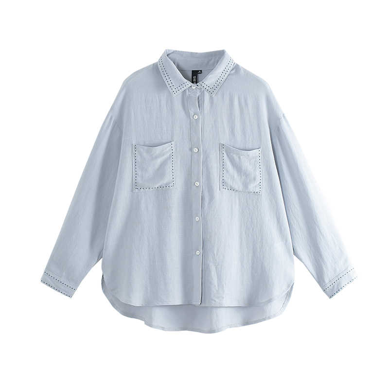Toyouth 2019 Kadın Yaz Bluz Casual Düz Polo Boyun Katı Renk Gevşek Gömlek Kadın Moda Bölünmüş Bluzlar
