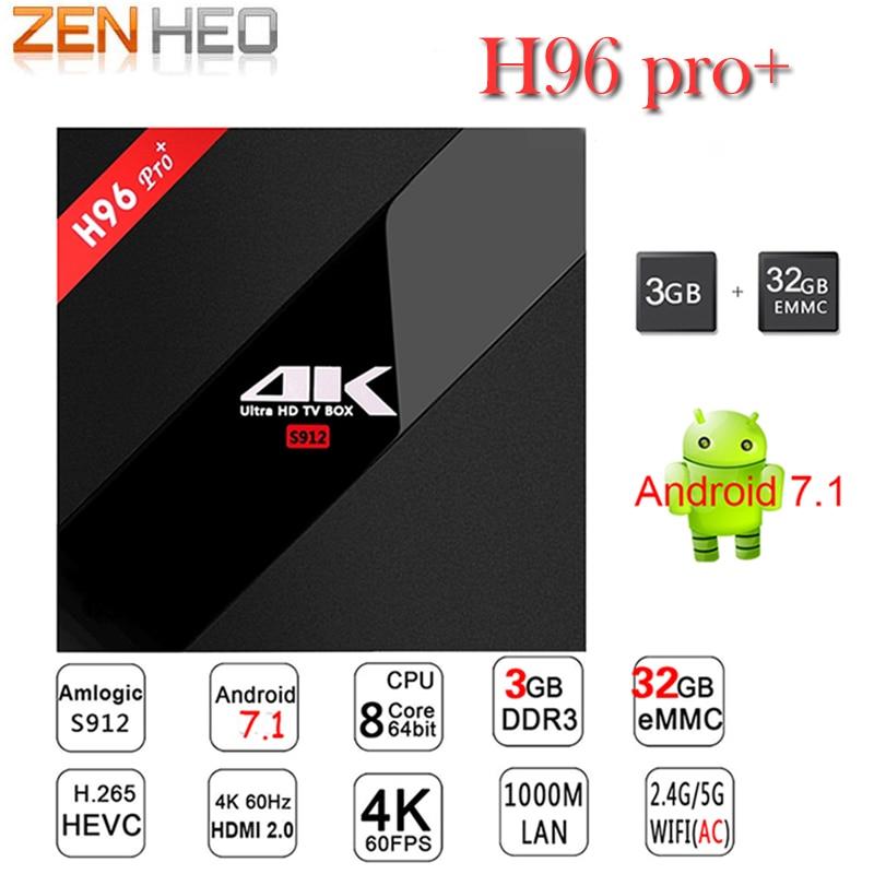 H96 Pro Plus TV Box Amlogic S912 Smart TV Box Android 7.1 Octa Core 3G RAM +32G ROM Bluetooth 5.8 GHz WiFi 4k player Set Top Box