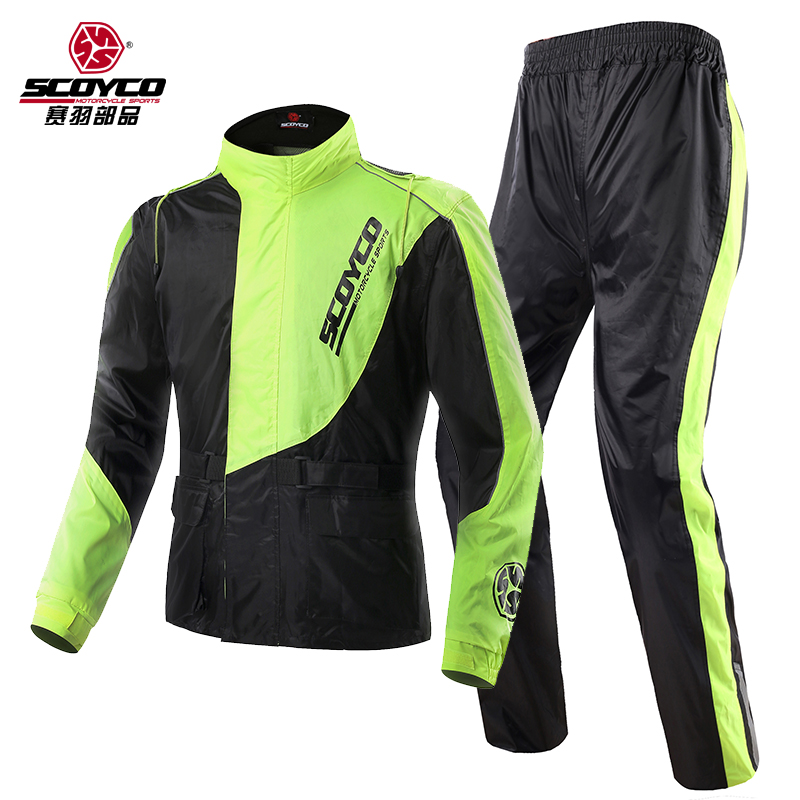 2017 Summer New Scoyco motorcycle riding raincoat rain pants suit men section separate waterproof windproof night reflective reflective raincoat rain pants waterproof single raincoat men and women for riding working free shipping