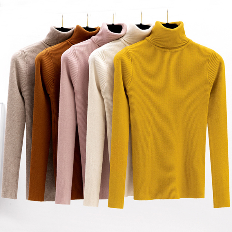 2019 Autumn Winter Women Knitted Turtleneck Sweater Casual Soft  Tricot  Jumper Fashion Slim Femme Elasticity Pullovers