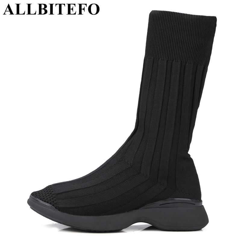 ALLBITEFO new fashion brand wedges heel women boots soft surface women shoes spring mid-calf motocycle boots sports girls shoes