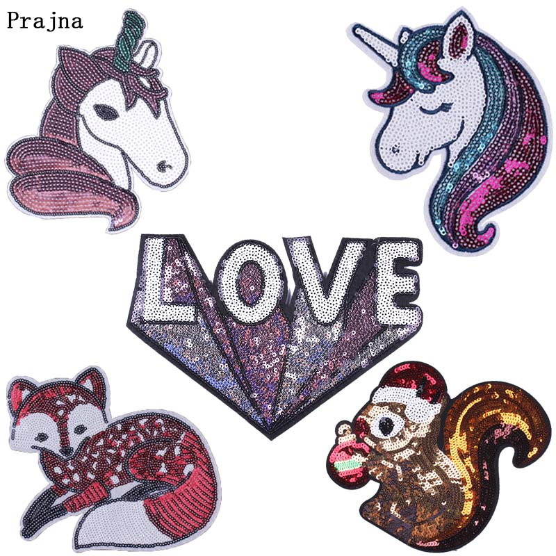 Prajna 3D Love Patch DIY Sequins Sew on Patches for Clothing Accessory Unicorn Fox Squirrel Stickers Designer Decoration F