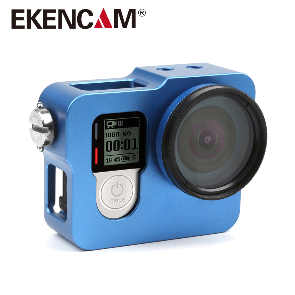 EKENCAM Aluminum Alloy Rugged Cage Protective Case for EKEN H8R H5S H6S H3R V8s GoPro Hero 4 3+ Camera With Go Pro 4 UV Lens Cap