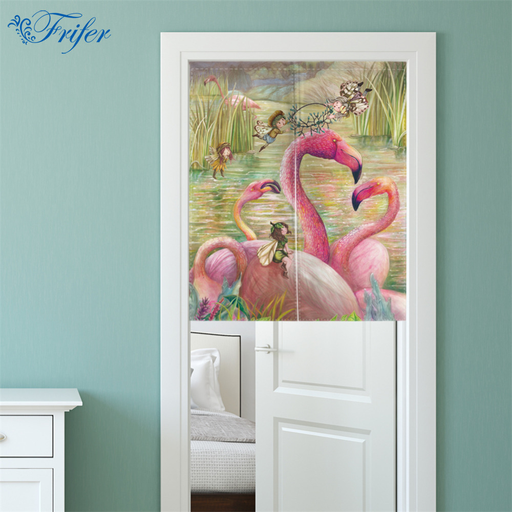 Creatieve NOREN Gordijn Canvas Deur Gordijnen Keuken Winkel Flamingo ...