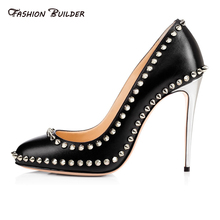 2016 New Spring Autumn Fashion Shallow Round Toe Slip On Super Thin High Heels Rivets Pumps