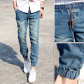 Classic Mens Joggers Light Blue Biker Denim Pants Male Elastic Waist Drawstring Trend Slim Fit Men Casual Jeans Active Pant 3XL