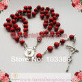 free shipping perfume rose scented rosary necklace/ red bead rosary wooden bead rosary necklace special offer 10pieces/lot