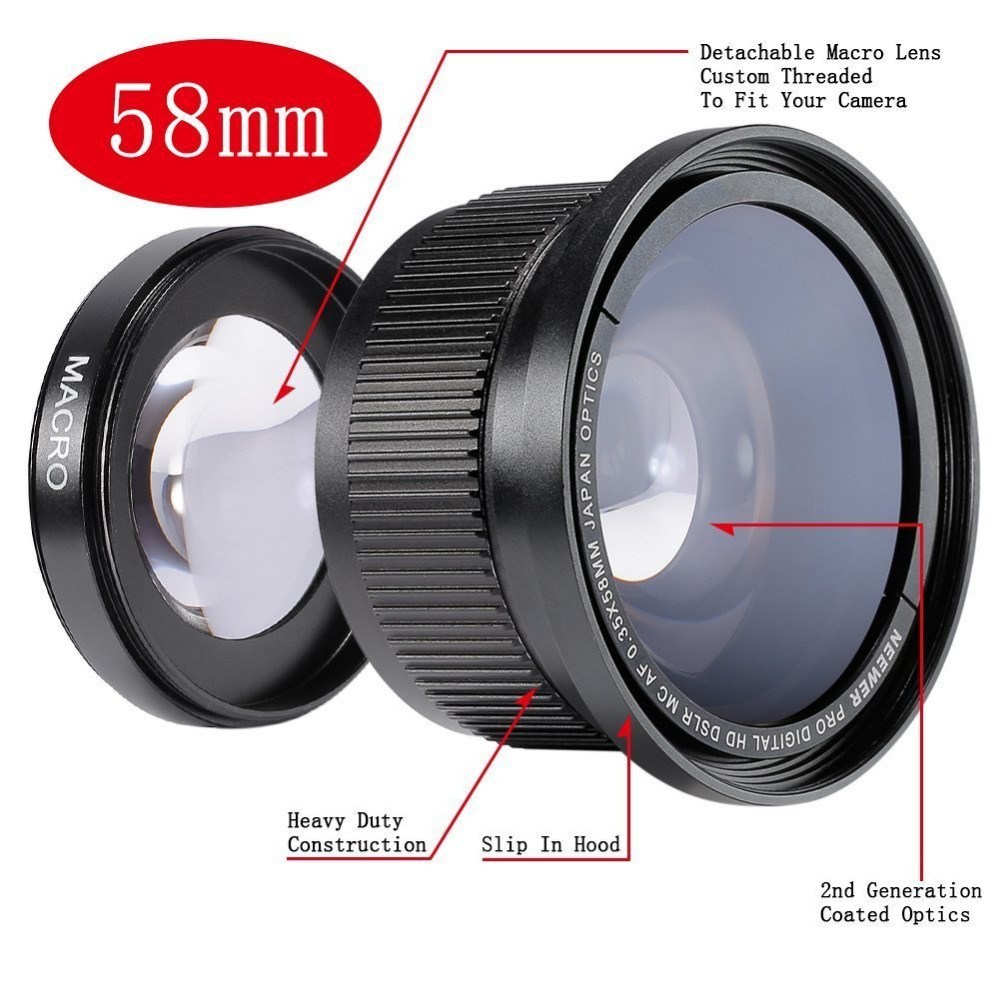 Neewer 58MM 0 35X Super Fisheye Wide Angle Lens with Lens Cover for Canon Rebel T5i