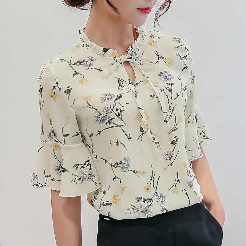 35ee8e56ab6 Для женщин Блузки для малышек 2018 шифон печати оборками рукавами blusas  работы Рубашки для мальчиков для