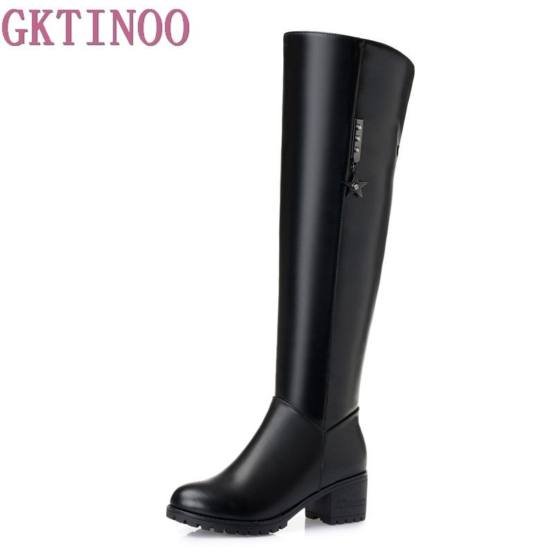 Large size 35-41 sexy high heels winter snow boots genuine leather+PU fashion women over the knee boots women thigh high boots new sexy women boots winter over the knee high boots party dress boots woman high heels snow boots women shoes large size 34 43