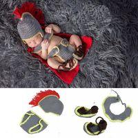 New Chegou Bebê Cavaleiro Forma Newborn Fotografia Props Crochet Malha Chapéu + Lenço + Panite + Sapatos Costumes Outfit