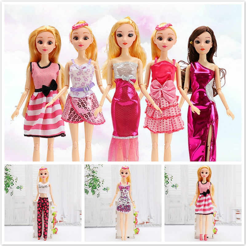 1PCS Black Powder Dolls Accessories Toy Felting Handmade Outfit Short Dress Cartoon Cute Pattern Clothes Barbie Toy