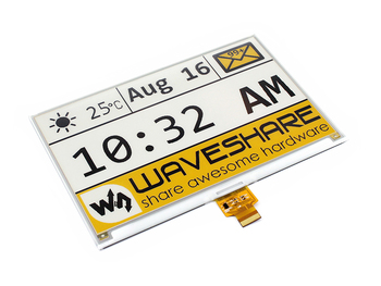 7.5inch e-Paper (C) 640x384, 7.5inch E-Ink raw display, yellow/black/white three-color SPI interface, without PCB