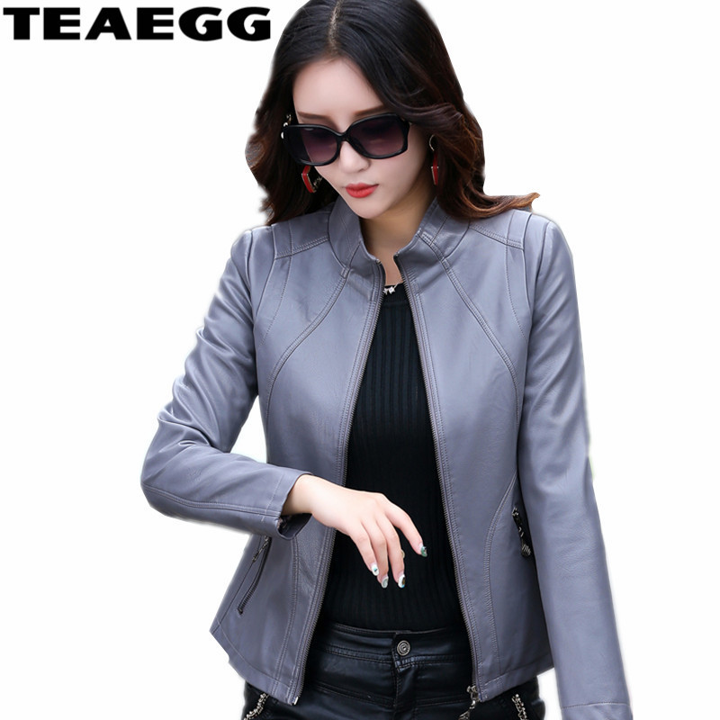 TEAEGG Gray Casual PUWomen's   Leather   Jackets Coat Outwear Parka Slim Spring Autumn Women Faux   Leather   Coat Plus Size 5XL AL760