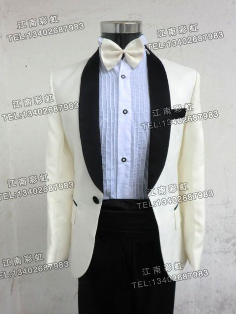 (Chaqueta + pantalones) estudio vestido de traje masculino traje de Los Hombres trajes para hombre delgado MC novio Padrinos de boda vestido de boda vestido de bailarina cantante estrella