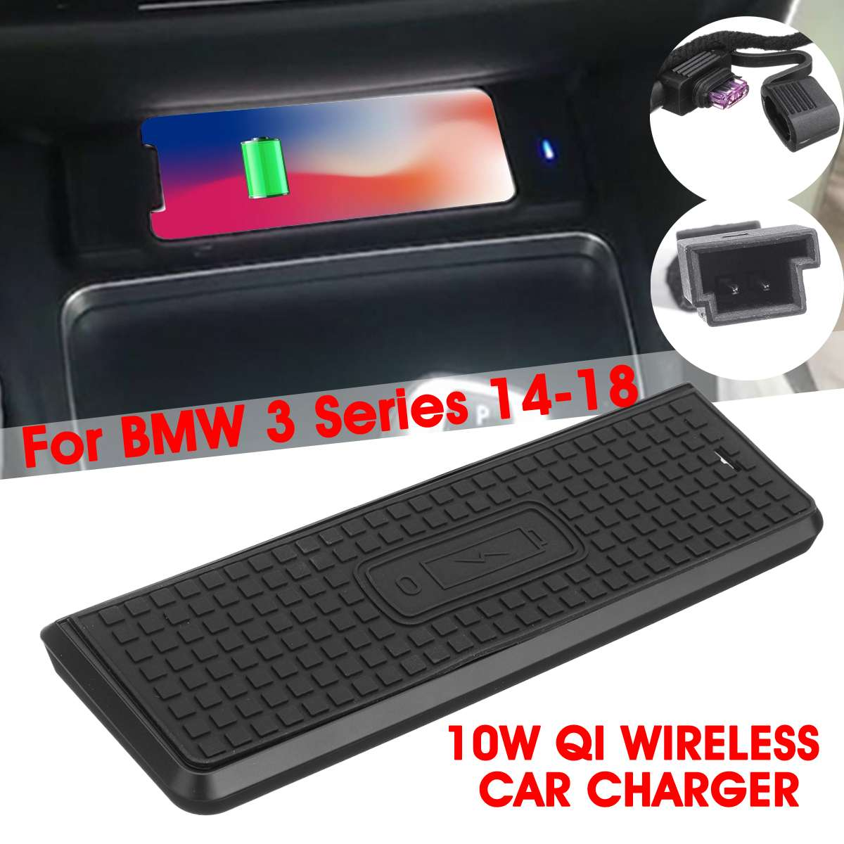 <font><b>For</b></font> <font><b>BMW</b></font> 3 Series 14-18 Car 10W Qi Wireless Fast Charging <font><b>Case</b></font> Charging Panel Car Charger Phone Holder <font><b>For</b></font> <font><b>iPhone</b></font> <font><b>8</b></font>/X/XSmax image