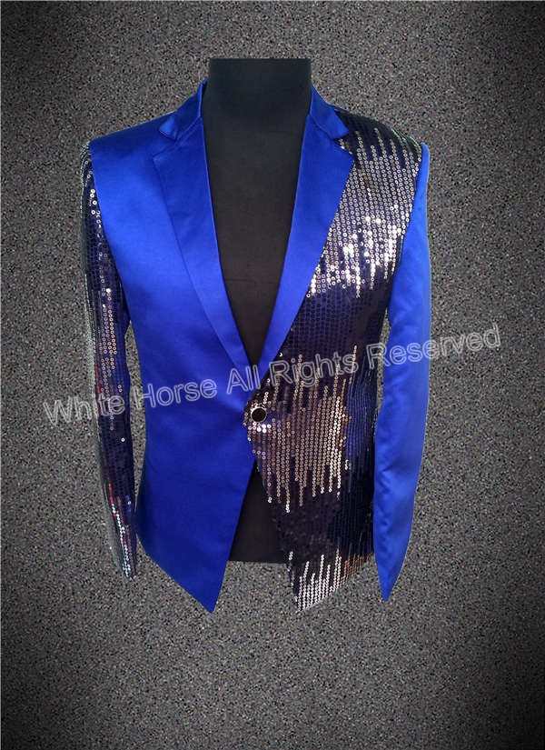 Blue and Red blazer Shining font b Jacket b font Made in China One Button Men