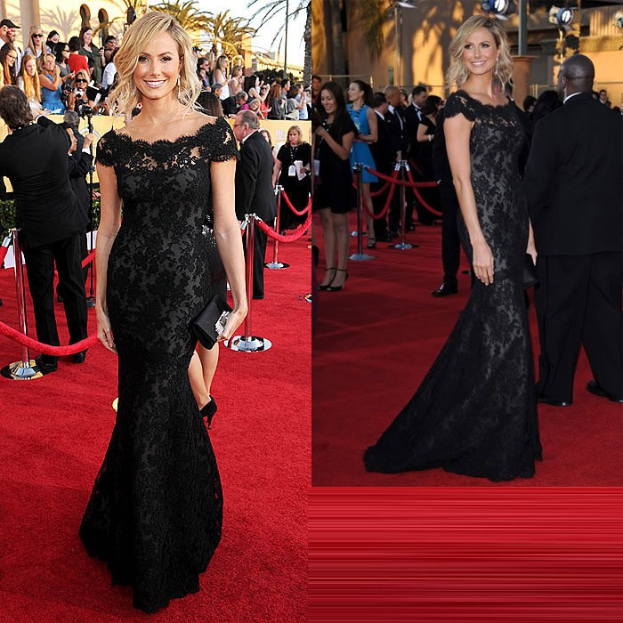 2014-Elegant-Black-lace-One-Word-Shoulder-Evening-prom-Cocktail-Ball-Women-Wedding-Long-Star-Long