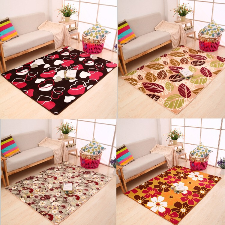 Free Shipping Coral Fleece Floor Mat Carpet For Home Living Room tapete Decoration Flower rugs doormat wholesale  floor