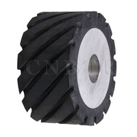 CNBTR 10 X 5cm Black Serrated Bearings Rubber Belt Grinder Sander Wheel