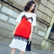PLAMTEE Lace Stitching Women Dresses Hit Color Midi Tshirt Dress 2017 Summer O-Neck Short Sleeve Bodycon Vestidos Feminina S M