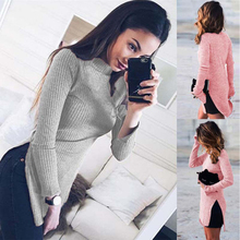 Trendy Women Long Sleeve Knitted High Split Sweaters Pullovers High Collar Tops Sweater