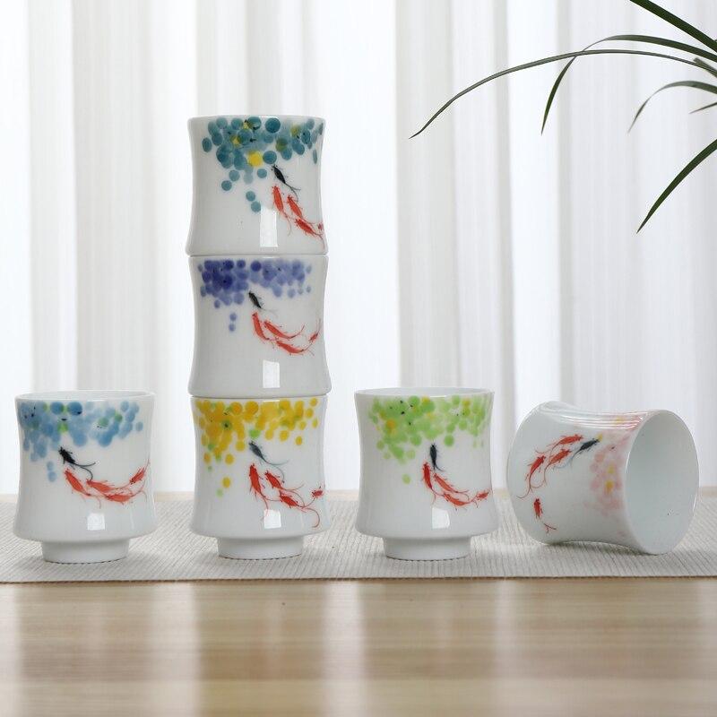 Ensemble de 6 tasses de café et de thé TANGPIN en porcelaine peinte à la main