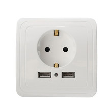 Groothandel Beste Dual Usb-poort 2000mA Lader Adapter EU Standaard Plug Socket Stopcontact Panel 110 ~ 250 V(China)