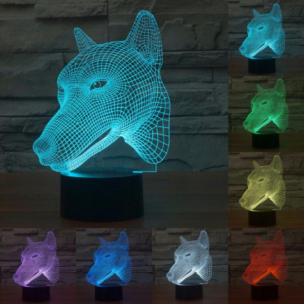 7 цветов изменить волк лампа 3D ночник акриловые светодиодные фонари для детей сенсорный USB сенсорный датчик света как подарок для ребенок ...