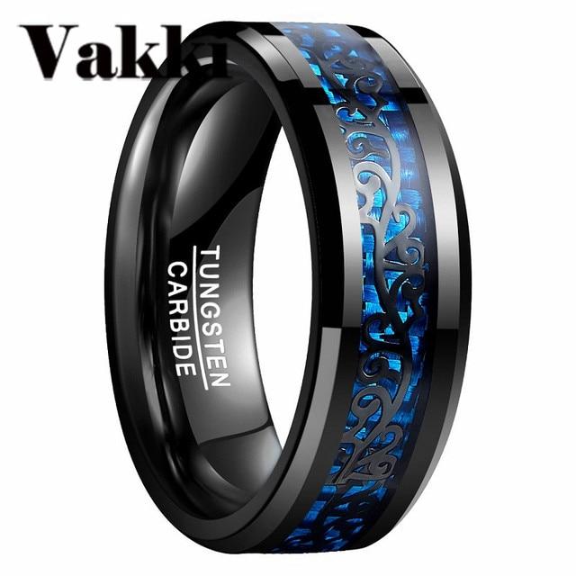Newest Men Ring Black Vine Blue Carbon Fiber 100 Tungsten Steel
