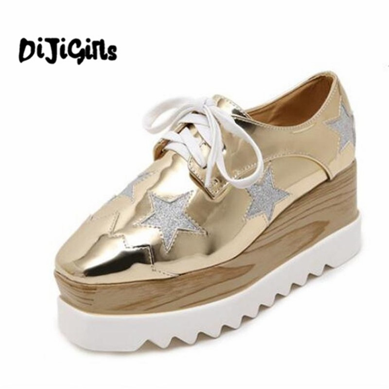 Women Platform Shoes Oxfords Brogue Patent Leather Flats Lace Up Shoes Creepers Vintage Luxury Light soles Casual Shoes Golden fashion patent leather oxfords shoes woman 2016 casual platform flats low heels silver women brogue shoes 2 wearing xwd3170