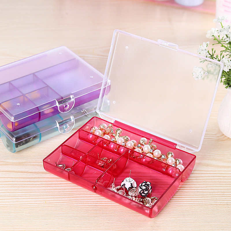 6 Lattices Translucent Plastic Cosmetic Storage Box / Water Proof, Dust Proof Organizer for Jewelry, Earring, Ring, Cable Wire