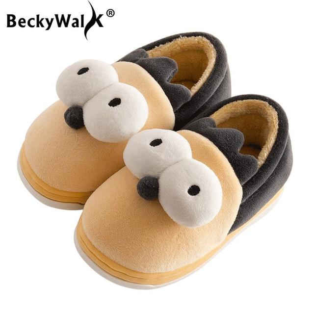 f01d5a29e3d Aliexpress.com : Buy BeckyWalk Winter Cotton Children's Slipper Shoes Boys  Girls Home Shoes Plush Warm Floor Slippers Kids Baby Toddlers Shoes CSH693  ...