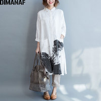 DIMANAF Women Blouse Plus Size Autumn Female Loose Casual Vintage Linen Chinese Style Large Size Pattern