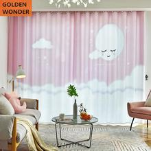 Beautiful Children Cartoon Princess Bedroom Curtains For Living Room customized Finished Shade Fabric Pink Cute Printing