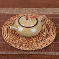 6 Size Rattan Weave Cup Mat Set Drink Coasters Round Pot Pad Table Dish Porta Copos Placemat Home Decoration Insulation Handmade