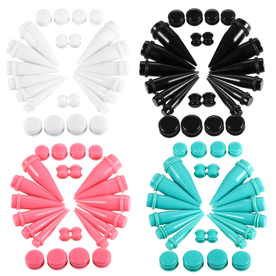 24pcs/lot Large Size Ear Gauge Kit Acrylic Taper and Plug Tunnel Kit Ear Expander Stretching Piercing Set Body Jewelry 10mm-20mm