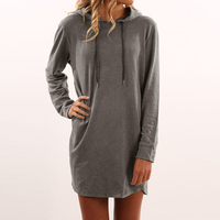 2017 Autumn Mini Short Style T Shirt Dress Women Hooded Long Sleeve Casual Loose Solid Girls
