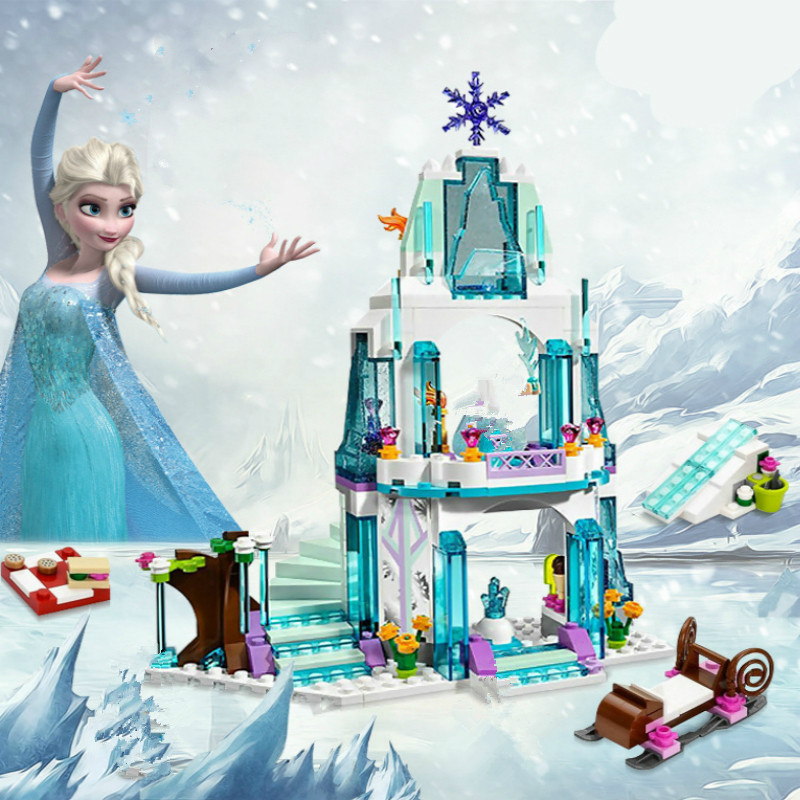 JG301 Anna Elsa Snow Queen Elsa's Sparkling Ice Castle Building Toys Blocks Brick Compatible with blocks Toys gift jg303 building blocks arendelle castle princess anna elsa buildable snow queen figures sy371 with blocks kids toys gift page 8
