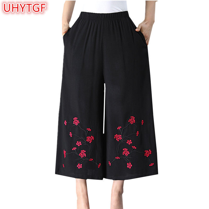 UHYTGF Summer Woman   Pants   Thin Female high waist   pants   plus size Ankle-Length Women's   Pant   Embroidery black   Wide     leg     pants   214