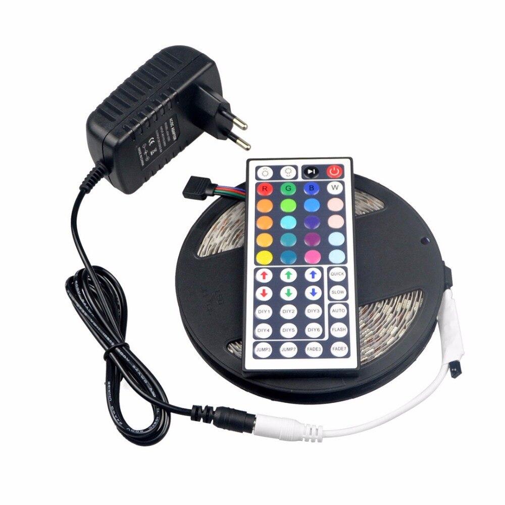 5m rgb dc12v 60leds m 5050 smd led strip light 3a dc 12v power adapter 44 keys remote. Black Bedroom Furniture Sets. Home Design Ideas