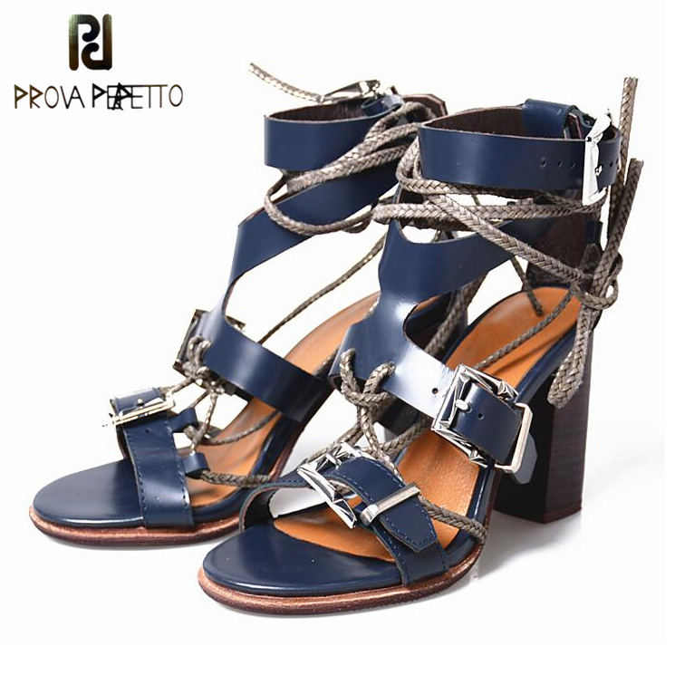 Prova Perfetto High Quality Cow Leather Chunky High Heel Sandals Women Shoes Buckle Bandage Peep Toe Punk Style Gladiator Sandal stylish women s peep toe shoes with buckle strap and chunky heel design