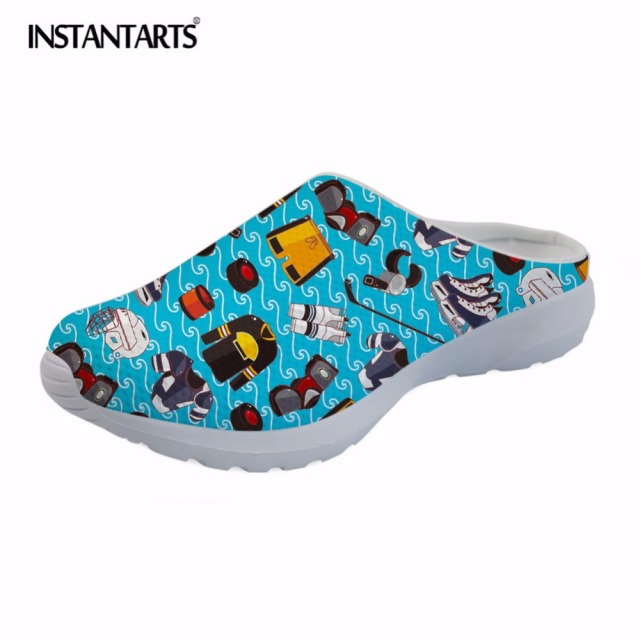 2a7d11fe2 INSTANTARTS US Cartoon Printed Men s Summer Slippers Breathable Air Mesh  Beach Water Shoes Lightweight Slip On Slippers Hombre