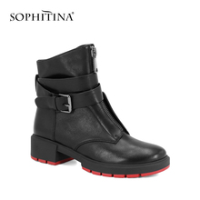 Sheepskin  Ankle Square Heels Retro Buckle Strap Boot