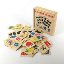 Карточная и графическая соответствующая коробка для детей, деревянные развивающие игрушки Монтессори, обучающая деревянная игрушка-головоломка