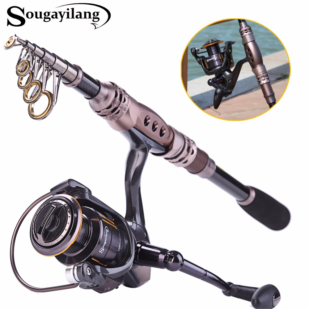 ФОТО Sougayilang 1.5-3.3m Telescopic Fishing Rod and 13+1BB Spinning Fishing Reel Combo Spinning Rod and Reel Set Tackle De Pesca
