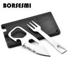 Hot sale multi-function tools card pocket knife fork camping cutlery kit 8 in 1 Portable survival knives Mini credit 86mm
