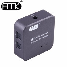 EMK Digital SPDIF Toslink Optical Audio Cable Switch 3×1 with IR Remote Controller Support 5.1 Bidirectional Manual Switcher