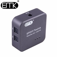 EMK SPDIF TOSLINK Digital Optical Audio Cable Switch 3x1 With IR Remote Controller Support 5 1