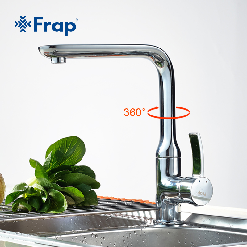 FRAP 2018 new 1Set Chrome Finish Kitchen sink Faucet Single Handle Torneira Cold and Hot Water Mixer taps F4076 deck mount single lever kitchen hot cold water faucet single handle mixer taps for kitchen chrome finish